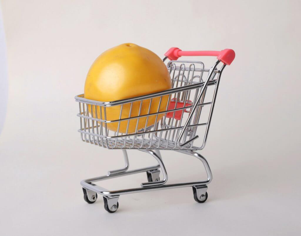 Using a Small Cart to Spend Less on grocery shoppinh